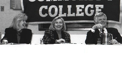 Tipper Gore, Hillary Clinton, and Ted Kennedy at a Health Care Forum, Boston, 1993.